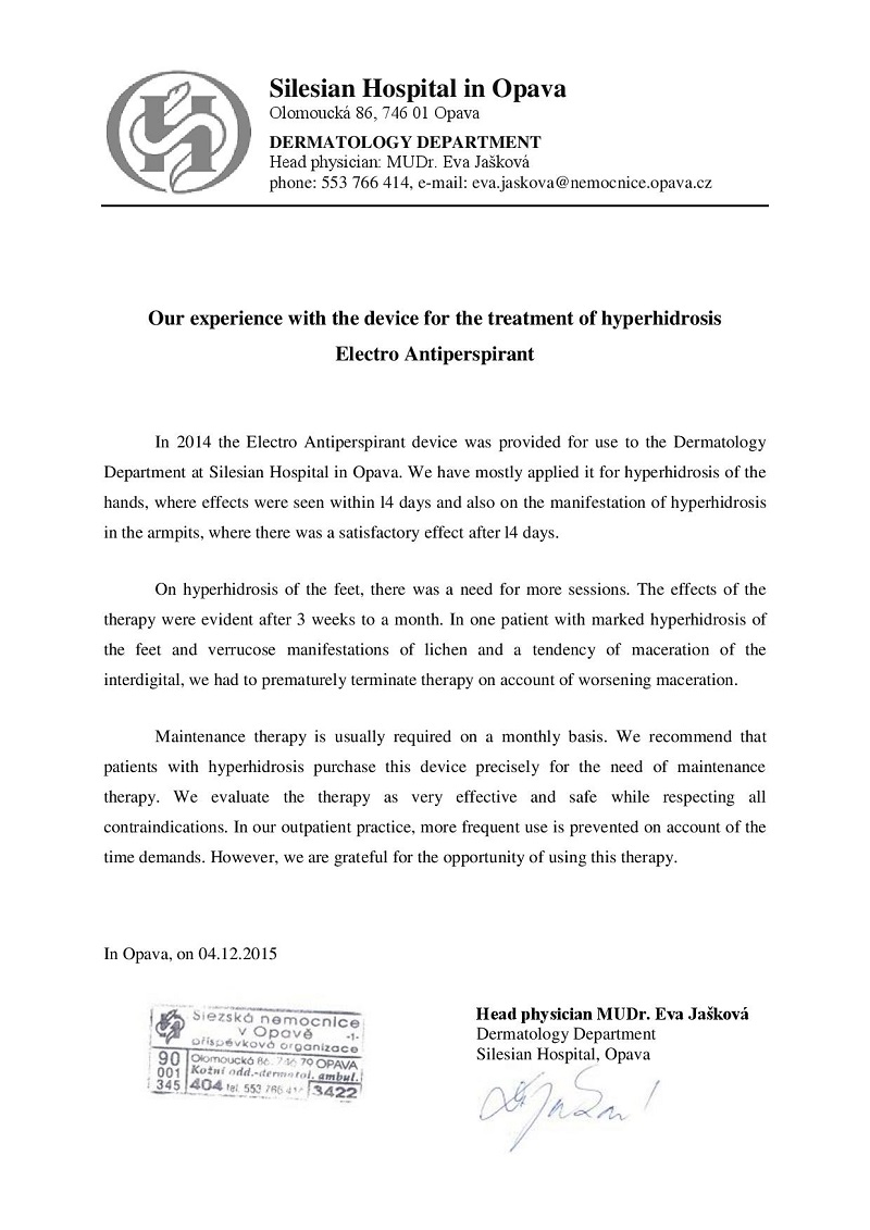Certificates and Recommendations by Doctors | Iontophoresis ...
