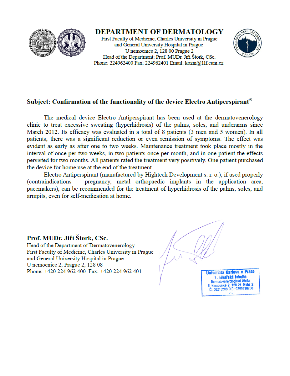 Certificates And Recommendations By Doctors Iontophoresis Electro